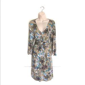 CAbi Cinched Waist Printed Dress